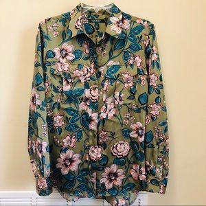 Ralph Lauren Olive Floral Print Button Down Sz. L